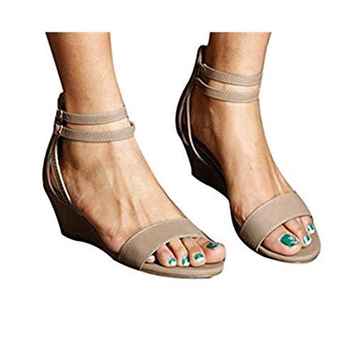 Cewtolkar Women Sandals Wedges Shoes Roman Sandals Peep Toe Shoes Buckle Sandals Zipper Shoes Summer Sandals Khaki (Small Wedge Sandals For Women)