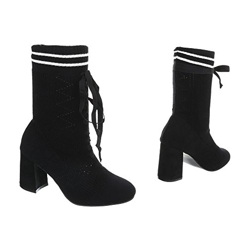 de Negro tacón tacón Mujer Ll 83 para Botas Ital Zapatos Mini Botines Design v0Ywx