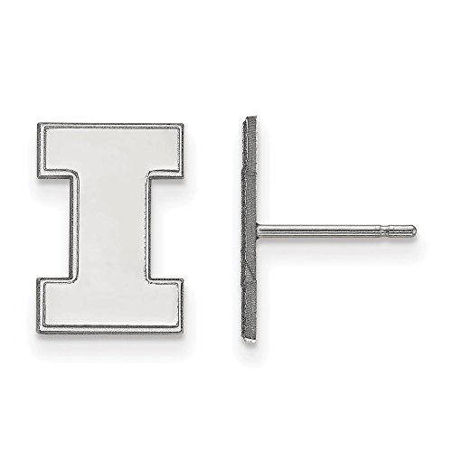 925 Sterling Silver Officially Licensed University College of Illinois Small Post Earrings (15 mm x 11 mm) by Mia's Collection