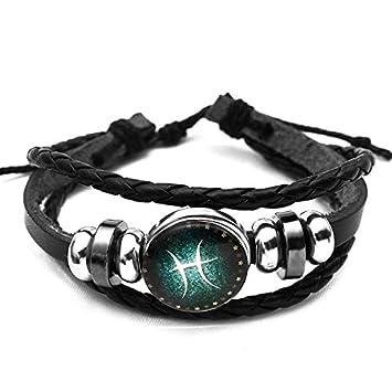 JUWOJIA Liebhaber Zwö lf Konstellation Leder Kette Armband Mä nner Und Frauen Hand Perlen String Gewebt