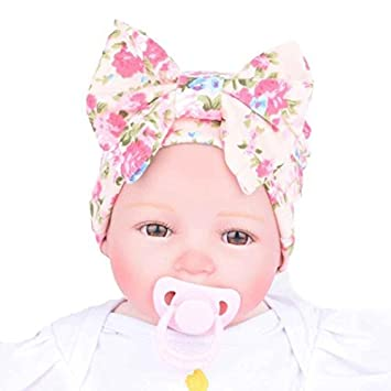 c8f324e9345 baleba Cute Newborn Hospital Baby Hats With Flower Bowknot (Pink)   Amazon.co.uk  Beauty
