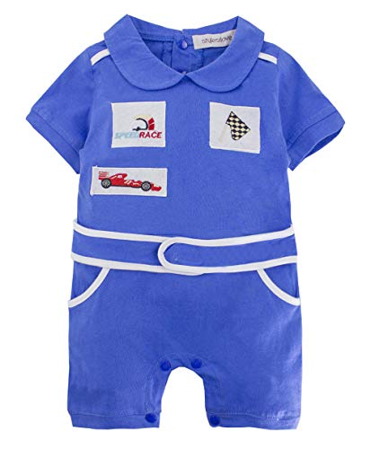 stylesilove Baby Boy Short Sleeves Chic Car Racer Costume Romper (Blue, 90/12-18 Months) ()