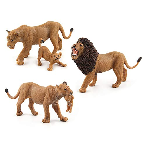 Warmtree Simulated Wild Animals Model Realistic Plastic Action Figure for Collection Science Educational Toy (Lions Family)