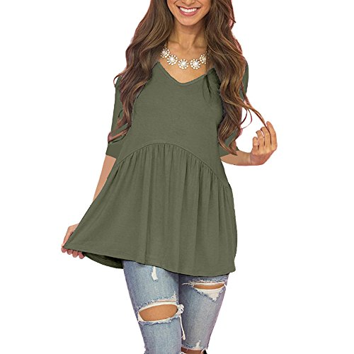 Empire Waist Maternity Shirt (Fanfly Flowy Tops For Women Casual 3/4 Sleeve Shirts Babydoll Tunic Solid Color Blouse)