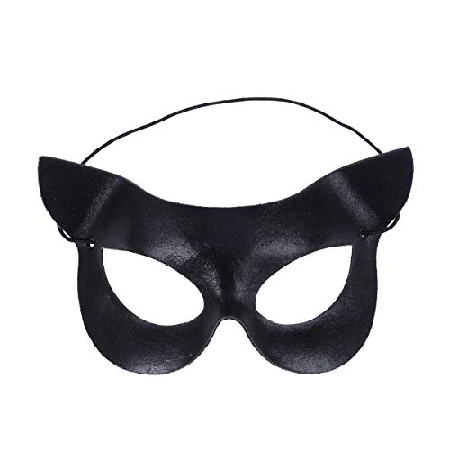 LUOEM Black Eye Half Face Mask Sexy Catwoman Mask Halloween Costumes for Halloween masquerade Costume Party Ball Fancy Dress (Black)