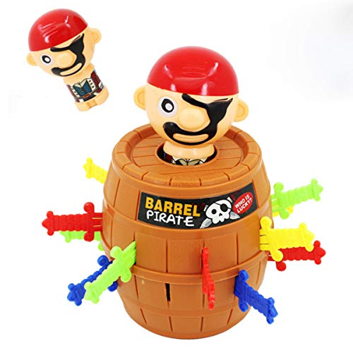 (CiCy Pirate Barrel Game, Pirate Funny Barrel Novelty Toy Bucket Lucky Stab Toys Game, Adult Kids Pirate Bucket Tricky Toy Party Game, Great Size for Travel Party Gathering)