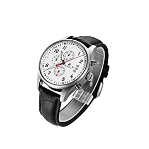Men Masculine Charm Synthetic Sapphire Chronograph Waterproof Date Japanese Quartz Genuine Leather Strap Watch