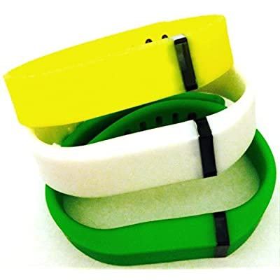 ! Large L 1pc White 1pc Green 1pc Yellow Replacement Bands + 1pc Free Large Grey Band With Clasp for Fitbit FLEX Only /No tracker/ Wireless Activity Bracelet Sport Wristband Fit Bit Flex Bracelet Sport Arm Band Armband by Pl
