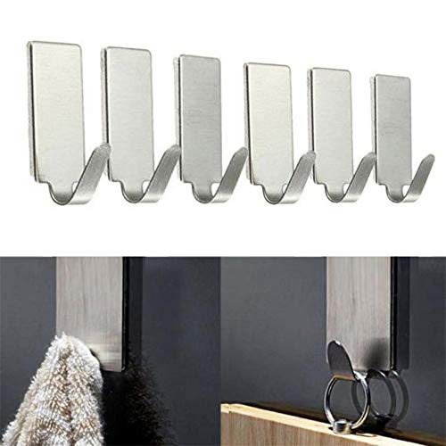 Celiy Stainless Steel Structure, 6PCS Self Adhesive Home Kitchen Wall Door Stainless Steel Holder Hook Hanger, Housekeeping Organizers Easter