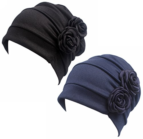 HONENNA Ruffle Chemo Turban Headband Scarf Beanie Cap Hat for Cancer Patient (Black+Navy Blue)