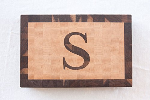 Chopping Blox Large end grain walnut and maple cutting board with inlay custom letter. SIXM-MXX