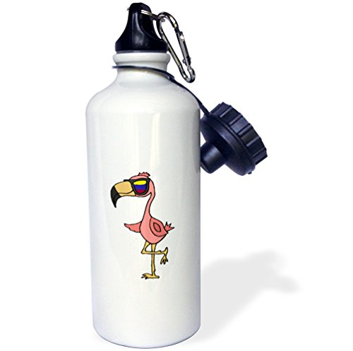 3dRose All Smiles Art at the Beach - Cool Funny Pink Flamingo Bird Wearing Sunglasses - 21 oz Sports Water Bottle - Wearing Flamingo Sunglasses