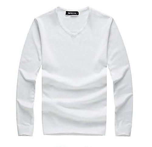 Tophaz Men's Stylish Slim Knitted Basic V Neck Sweater Thin Plain Pullover SW04, White Large