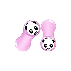 BIG GAUGES Pair Pink Acrylic Panda Face Double Flared Tunnel Piercing Jewelry Ear Stretcher Plugs Flesh Earring Lobe