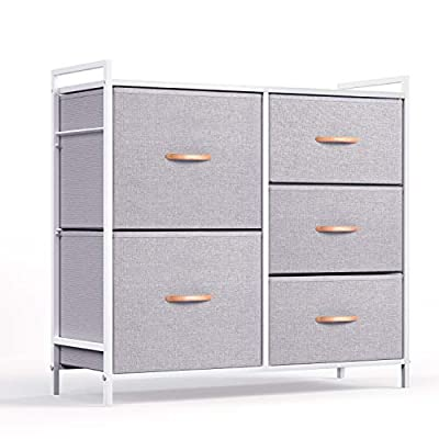 ROMOON Dresser Organizer with 5 Drawers, Fabric dresser tower for Bedroom, Hallway, Entryway, Closets - Gray - Multifunction Cabinet: 5 Collapsible drawers include 2 sizes to satisfy your different storage needs, shelving things as you wish on top board. Eco-Friendly Material & Sturdy Structure: Combine MDF board with durable steel frame. Cross support bar and drawer support shelf were added, will not shake under full load. Easy pull drawers with wooden handle for smooth opening and closing. Stylish Design: Style meets function with our chest of drawers. Diversify color matching all home decoration style, fashion and simple design help save a lot of space. - dressers-bedroom-furniture, bedroom-furniture, bedroom - 41BXzFXMKFL. SS400  -