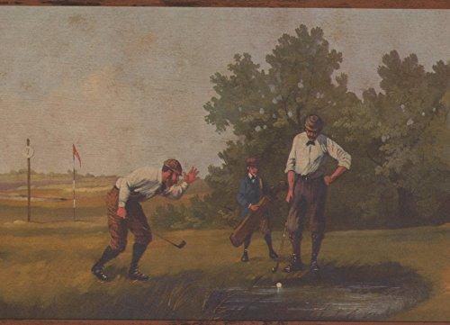 Vintage Golf Scenes Sports Wallpaper Border Retro Design, Roll 15' x 7''