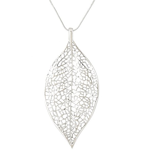 NLCAC Filigree Leaf Pedant Necklace Snake Chain Gorgeous Hollow Leaf Necklace Bohemian Jewelry for Women, Girls (Silver Tone)