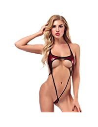 Women Sexy Lingerie Nightclub Dress Patent Leather Bodysuit Pole Dancing Clubwear