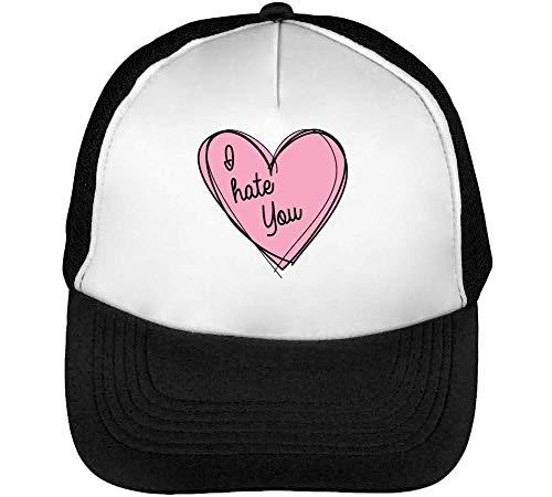 I Hate You Heart Graphic Gorras Hombre Snapback Beisbol Negro Blanco