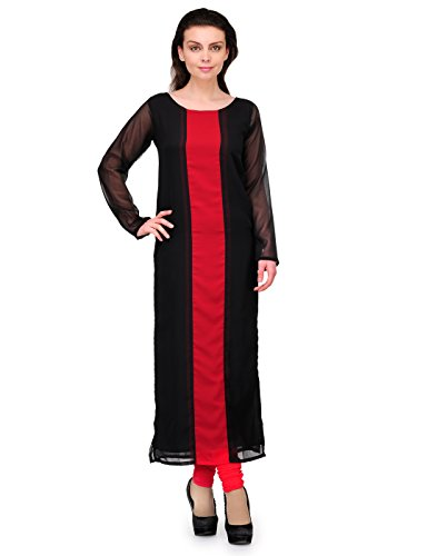 Cenizas Women's Indian Tunic Top Georgette Kurti – Large, Black