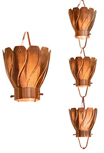 Monarch Pure Copper Akira Rain Chain, 8-1/2-Feet (Japanese Rain Chains)
