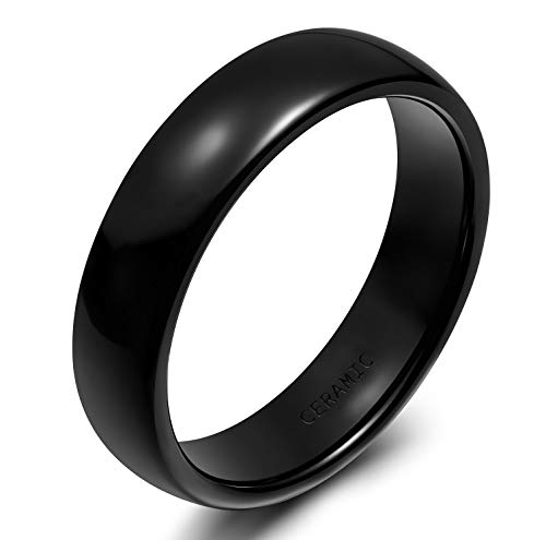 - SOMEN TUNGSTEN 6mm Black Ceramic Ring for Couples Dome Classic Engagement Wedding Band Size 8.5
