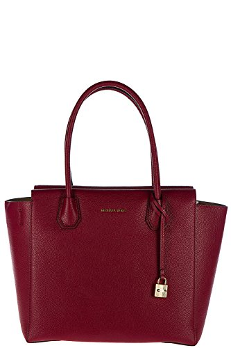 Michael Kors Studio Mercer Large Leather Satchel (Cherry) by Michael Kors