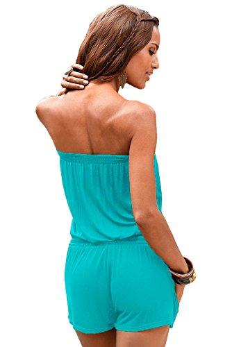 Neue Damen Trägerlos Blau Strampler Spielanzug Body Strampelanzug Club Wear Sommer Kleidung Größe S UK 8EU 36