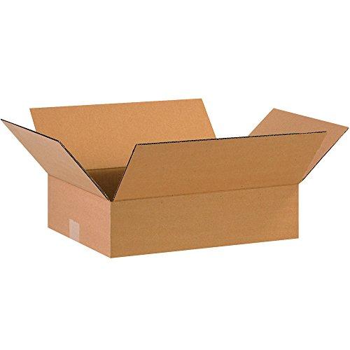 BOX USA B16124100PK Flat Corrugated Boxes, 16'' L x 12'' W x 4'' H, Kraft (Pack of 100) by BOX USA