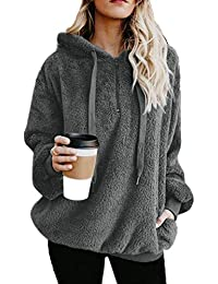 Womens Sherpa Pullover Fuzzy Fleece Sweatshirt Oversized Hoodie Pockets