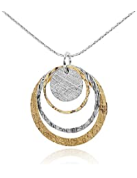 Two Tone Women's Jewelry Graduated Circles Pendant in 14k Gold Filled & 925 Sterling Silver Necklace, 18