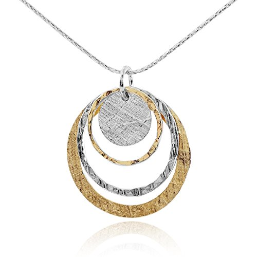 Two Tone Women's Jewelry Graduated Circles Pendant in 14k Gold Filled & 925 Sterling Silver Necklace, ()