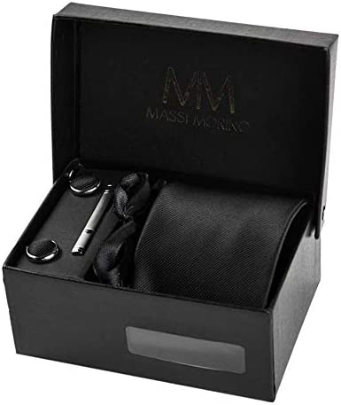 Massi Morino ® Cravatta uomo + Gemelli + Fazzoletto (Set cravatta uomo)...