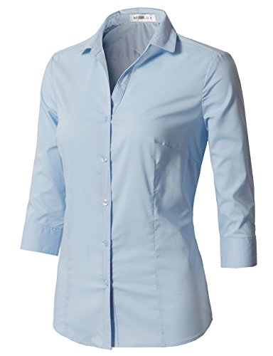 CLOVERY Women's Tailored 3/4 Sleeve Basic Simple Button-Down Shirt With Plus Size SkyBlue (Cotton Tailored Uniform)