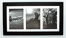 Golden State Art, 7x14 Black Photo Wood Collage Frame with Mat displays (3) 4\