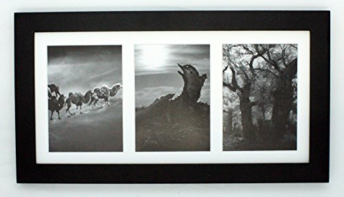"Golden State Art, 7x14 Black Photo Wood Collage Frame with Mat displays (3) 4""x6"" pictures"