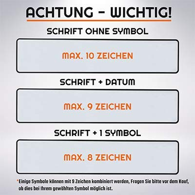 L /& P Car Design FKZ 1 St/ück Fun Kennzeichen 52cm x 11cm Wunschtext Individuell Wunschkennzeichen Wunschpr/ägung Namens Kennzeichen Namensschild Geburtstag Farbe Weiss
