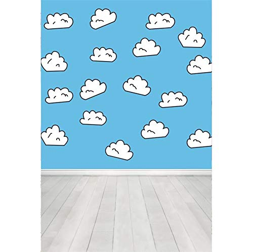 Laeacco Cartoon White Clouds Background 3x5ft Wood Texture Floor Vinyl Photography Backdrop Blue Wall Cute Funny Baby Children Kids Birthday Party Banner Poster Studio Photo Prop Decor Wallpaper