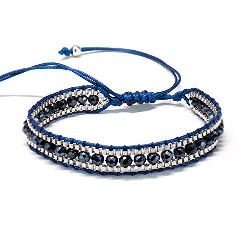 Alaxy Bohemian Colorful Crystal Mix Beaded Single Wrap Handmade Braid Adjustable Bracelet for Women Men (Blue) ()