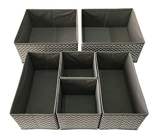 Sodynee SCD6SST Foldable Cloth Storage Box Closet Dresser Organizer Cube Basket Bins Containers Divider with Drawers for Underwear, Bras, Socks, Ties, Scarves, 6 Pack, Stripe