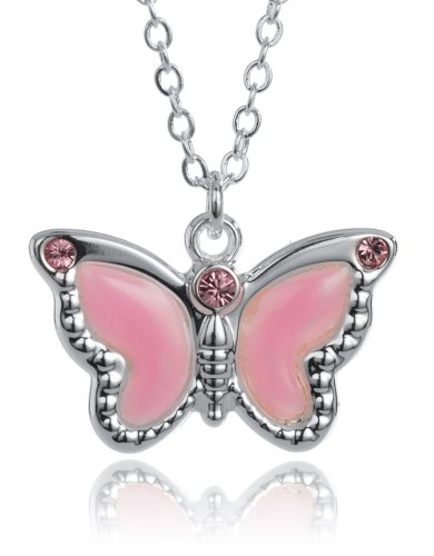 (Water Colors Pink Enamel Butterfly Pendant Necklace Nautical Jewelry with 18