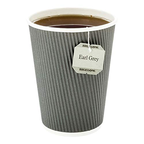 - 500-CT Disposable Gray 12-OZ Hot Beverage Cups with Ripple Wall Design: No Need for Sleeves - Perfect for Cafes - Eco-Friendly Recyclable Paper - Insulated - Wholesale Takeout Coffee Cup (Renewed)