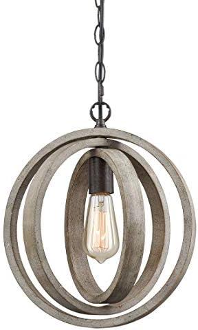 AXILAND Rustic Pendant Lighting Wood Globe Pendant Light Fixture -1 Light