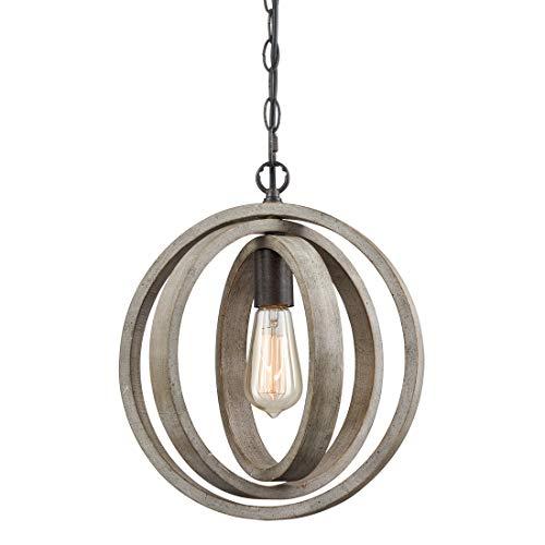 Wood Globe Pendant Light