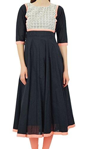 Bimba diseñador de las mujeres abocardada elegante Kurta Anarkali vestido de algodón personalizada Kurti larga túnica Negro