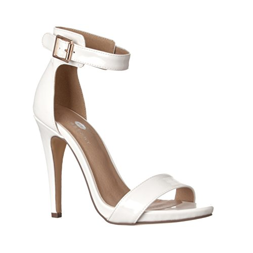 Riverberry Women's Madi Open Ankle Strap High Heel Pumps, White Patent, 7