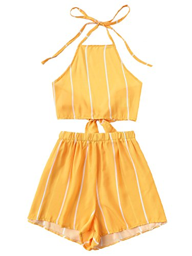 SweatyRocks Women's 2 Piece Outfits Halter Sleeveless Crop Cami Top with Shorts Yellow Striped M (2 Piece Cute Set)