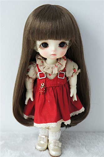 JD319 5-6inch 13-15CM 1/8 BJD Doll wigs Lati yellow Synthetic mohair Long slight curly BJD hair (Medium Brown)