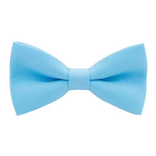 Classic Pre-Tied Bow Tie Formal Solid Tuxedo, by Bow Tie House (Medium, Sky Blue)
