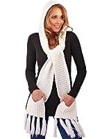 ladies acrylic rib knit hooded scarf with pocket and tassel fringe